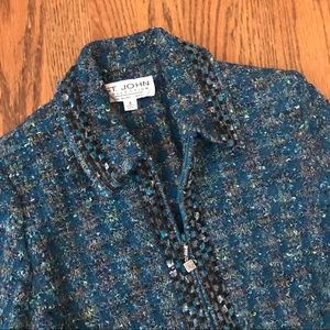 St. John boucle Tweed knit zip jacket 8 teal green